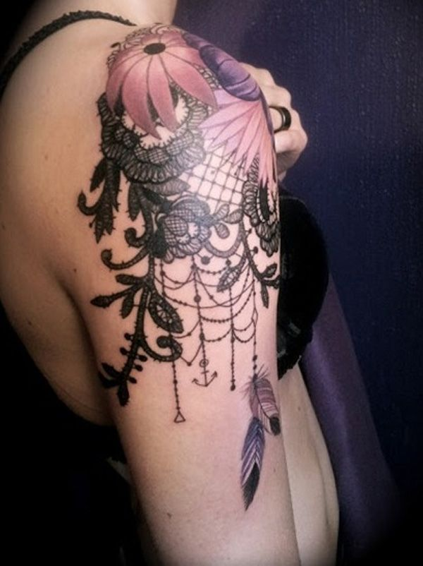 40 Quarter Sleeve Tattoos | Cuded LOVE this flower, lace, dream catcher, anchor…all in one!