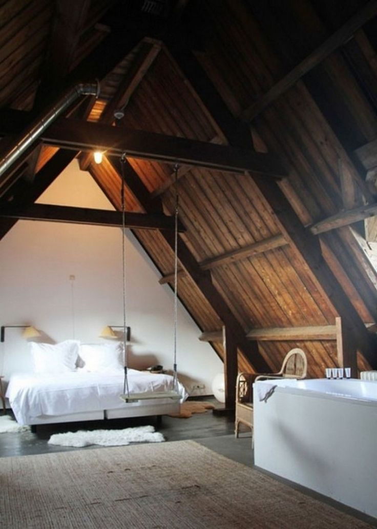 Attic Bedroom Remodel : Modern Contemporary Attic Room Decor Idea With Natural Brown Wooden Ceiling Combine