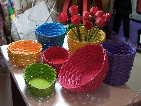 APRENDA A FAZER CESTARIA COM JORNAL E PAPELÃO - http://www.decoracaodecoracao.com/aprenda-a-fazer-cestaria-com-jornal-e-papelao