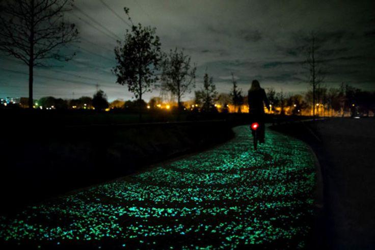 """Starry Night"" Bike Path http://www.bicycling.com/news/advocacy/the-worlds-coolest-bike-infrastructure/starry-night-bike-path"