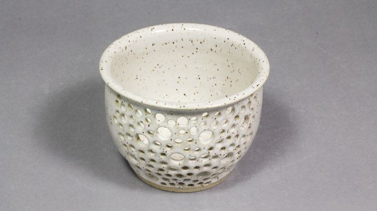 """Buy Online - Speckled Eggshell 5x3.5"""" Hand Carved Orchid Pot by Ashley Keller"""