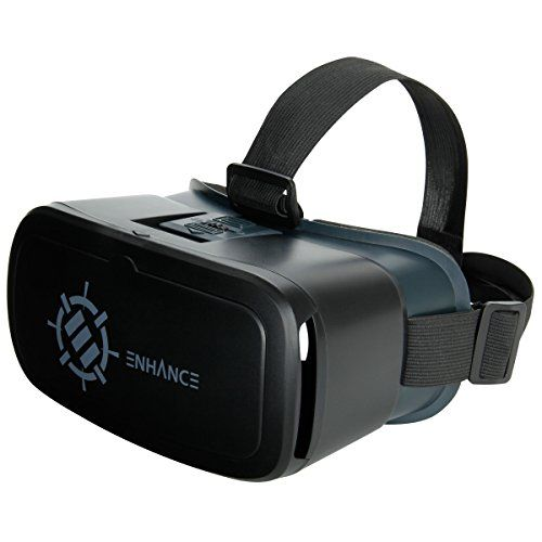 VR Headset Goggles for Smartphones by ENHANCE - Universal Virtual Reality Headset with Comfort Padding & Head Strap Adjustable Object & Pupillary Distance - Google Cardboard  Samsung Apps & More