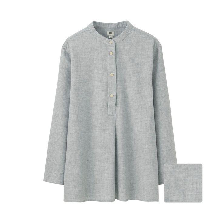 WOMEN Flannel Stand Collar Long Sleeve Shirt