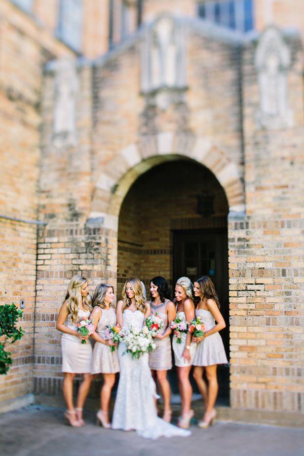 mismatched champagne colored bridesmaids dresses #bridesmaid #champagne #weddingchicks http://www.weddingchicks.com/2014/01/24/teen-spirit-wedding