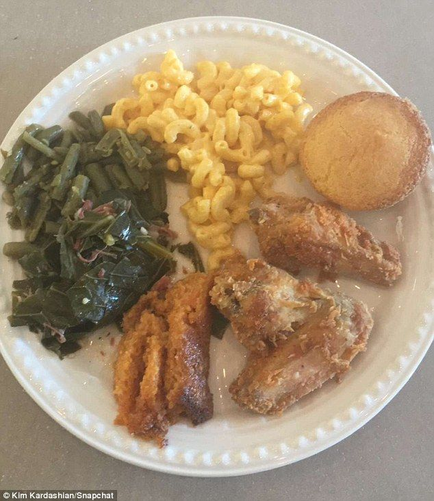 'Soul food Sundays': Kim posted a photo of her plate once it was time to eat