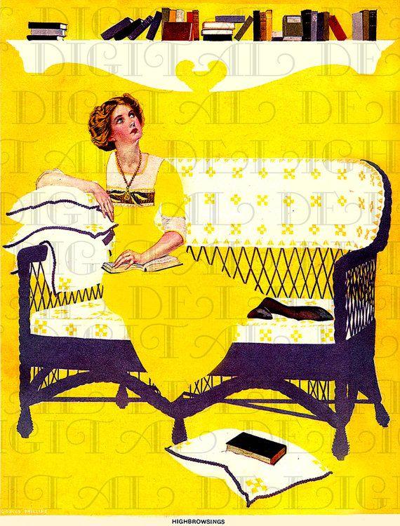 Highbrowsing. Edwardian/Deco Lady READING. by DandDDigitalDelights