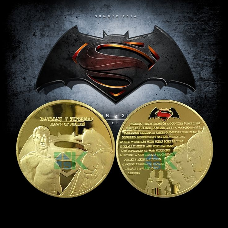 2016 New Comics Hero Movie Batman V Superman Dawn of Justice metal craft Hollywood fan gift coin