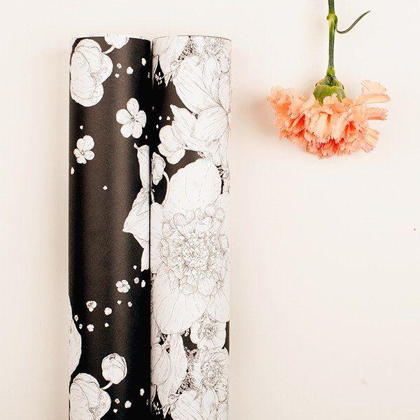 "Wrapping Paper ""Sydäntalvi"" Black Nuppu Print Company"