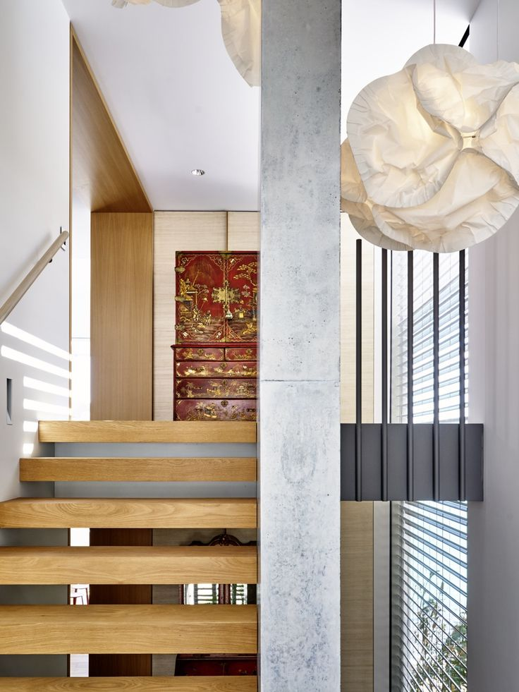 Tobias Partners - Deepwater House Stairwell with Vitra Cloud Lamp pendant by Frank Gehry