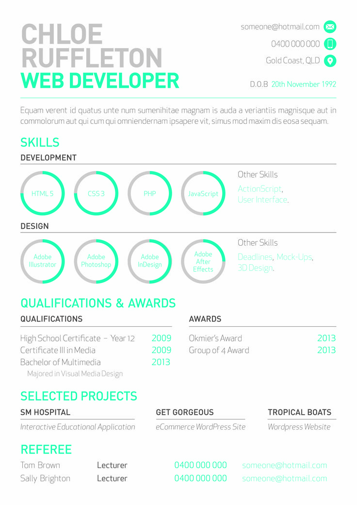 web developer u0026 39 s resume with mini info graphs by melissa mcarthur      be net  melissamcarthur