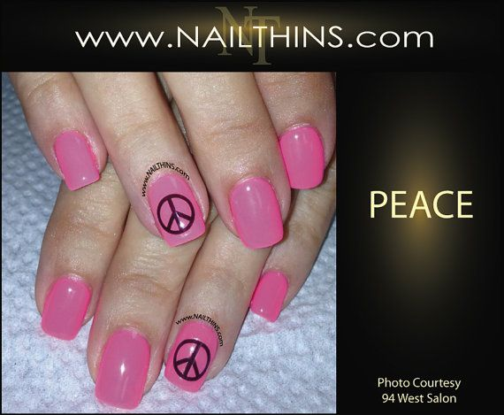 PEACE Nail Decal  Nail Art peace sign  Nail Design by NAILTHINS, $4.00