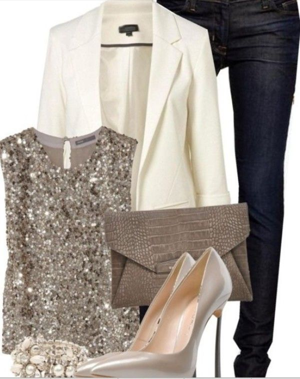 Blouse: gold sequins sequins gold glitter sparkle blazer cream white blazer jeans denim clutch high