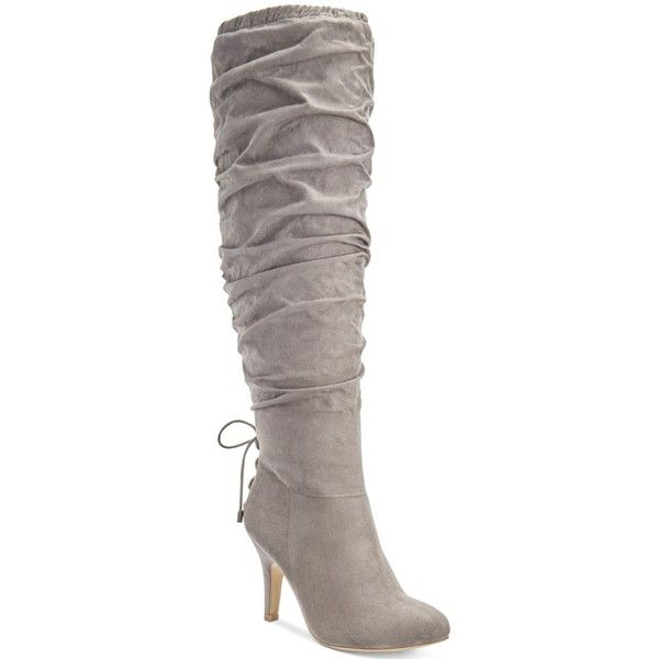 Thalia Sodi Lunna Tall Wide-Calf Wide-Width Boots, ($130) ❤ liked on Polyvore featuring shoes, boots, grey taupe, tall boots, wide calf slouch boots, taupe boots, tall slouch boots and wide width boots