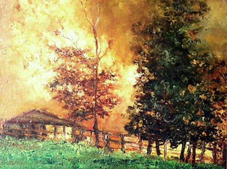"""""""incendio en su mejor barrio""""..... òleo sobre tela"""
