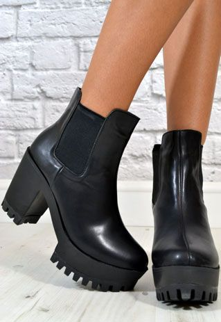 Platform Boots Chunky Heel