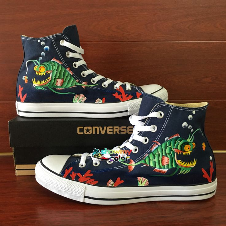 Angler Fish Hand Painted Shoes Blue Converse Chuck Taylor Men Shoes Original Design High Top Sneakers for Women #Affiliate