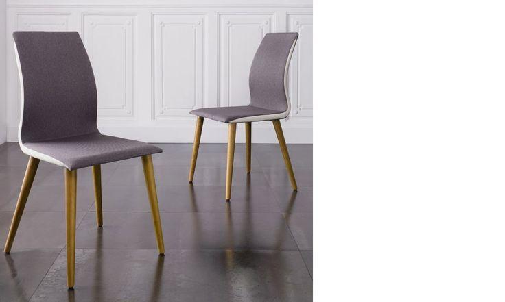 Chaise salle a manger grise en tissu et pieds en bois design MARTHA