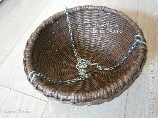 Мастер-класс Поделка изделие Плетение Плетёное подвесное кашпо усовершенственное  Трубочки бумажные фото 12