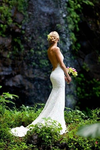wedding dress, lace dress, lace, ruffles, low cut back, low back, open back, open backed dress, white | Wheretoget.it