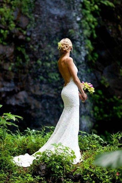 wedding dress, lace dress, lace, ruffles, low cut back, low back, open back, open backed dress, white | Wheretoget.it