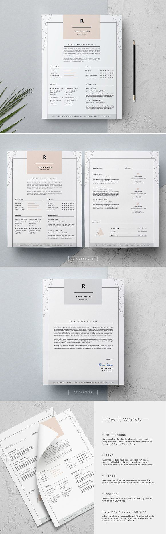 3 page Resume Template / Rhian by This Paper Fox on @creativemarket Professional printable resume / cv cover letter template examples creative design and great covers, perfect in modern and stylish corporate business design. Modern, simple, clean, minimal and feminine style. Ready to print us letter and a4 layout inspiration to grab some ideas. In psd, indd, docs, ms word file format.