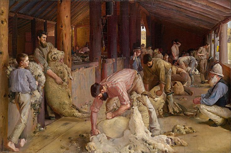 Shearing the rams, 1890, Tom Roberts, oil on canvas, 122.4 x 183.3 cm, National Gallery of Victoria, Melbourne.