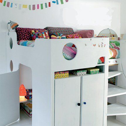 Hideaway bunk bed - neat. You could totally have enough bed space across the top for four kids. =)