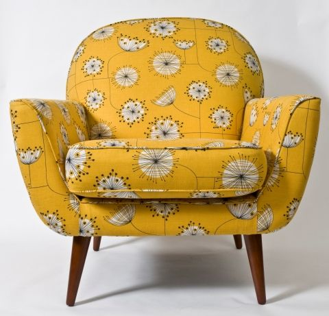 yummy fabric and mid century design- what's not to love!