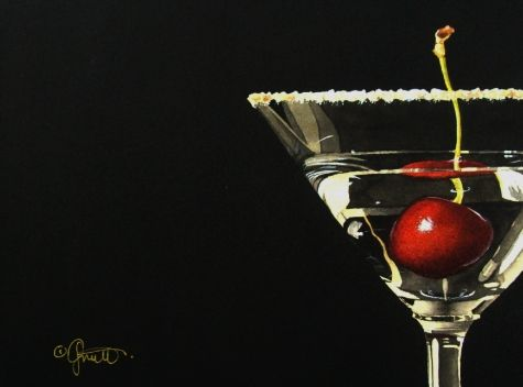 Cherrytini, painting by artist Jacqueline Gnott