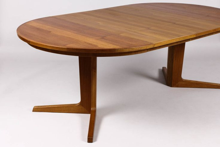 table danish modern mid century teak oval brown wood expandable dining