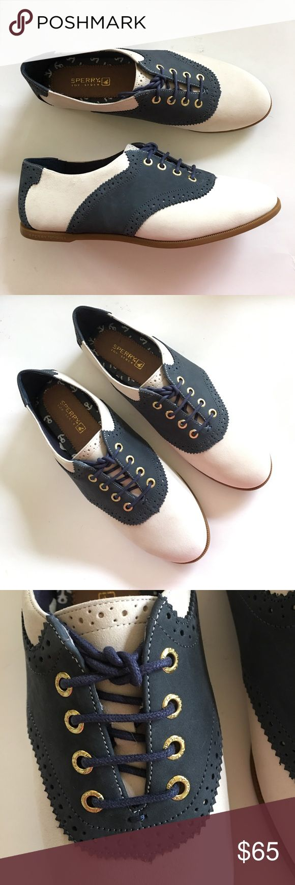 NEW SPERRY TOP SIDER navy ivory oxford saddle shoe NEW IN BOX W TAGS. Leather upper, non skid traction outsole. Golden tone hardware. Retro styling with all of the comfort of a great, quality-branded shoe! EUR 39. US 8. Please visit my closet for more new with tags shoes, boots, clothes, swimwear, sleepwear, and more! AWESOME bundling opportunities from over 900 available listings. (Save on shipping!) Sperry Top-Sider Shoes Flats & Loafers
