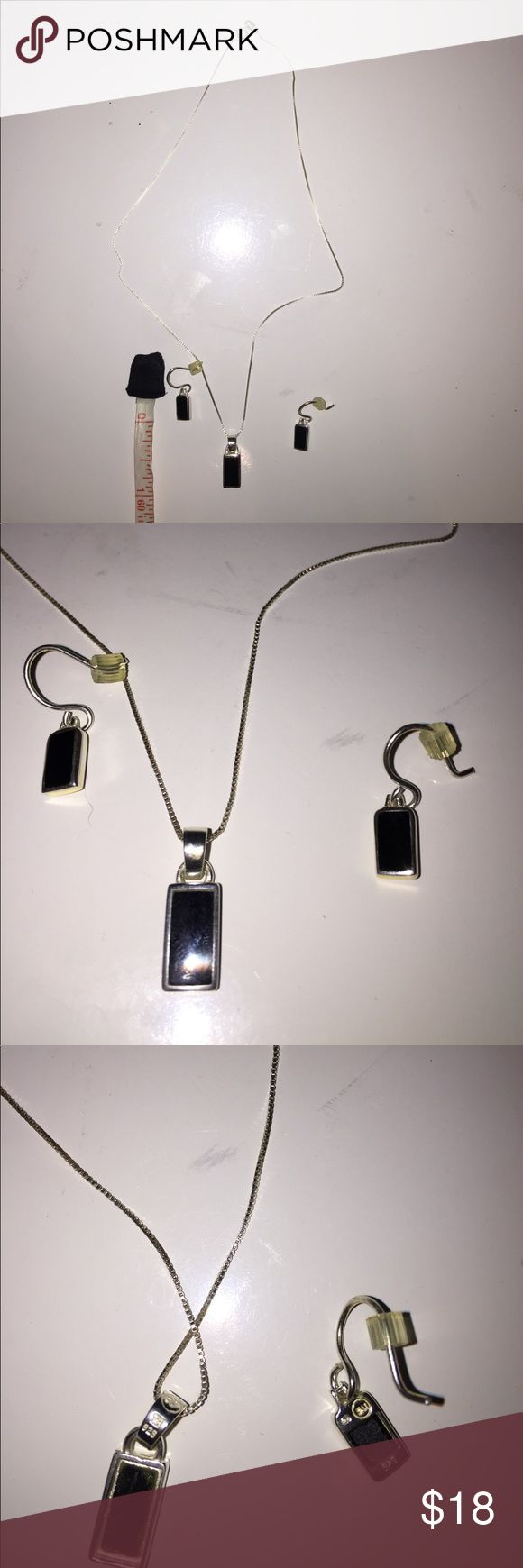 """Sterling silver and onyx necklace and earrings. Sterling silver and onyx necklace and earrings. Rectangular drops are about 1/2"""" Jewelry Necklaces"""