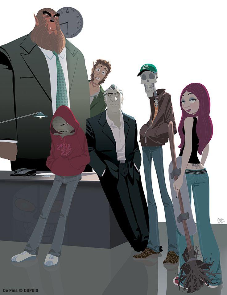 Illustration représentant quelques uns des héros de la série de bande dessinée Zombillénium, une comédie à l'humour noir impeccable, signée Arthur de Pins. #BD, #Humour, #zombies, #vampires, #fantômes http://www.dupuis.com/seriebd/zombillenium/3204