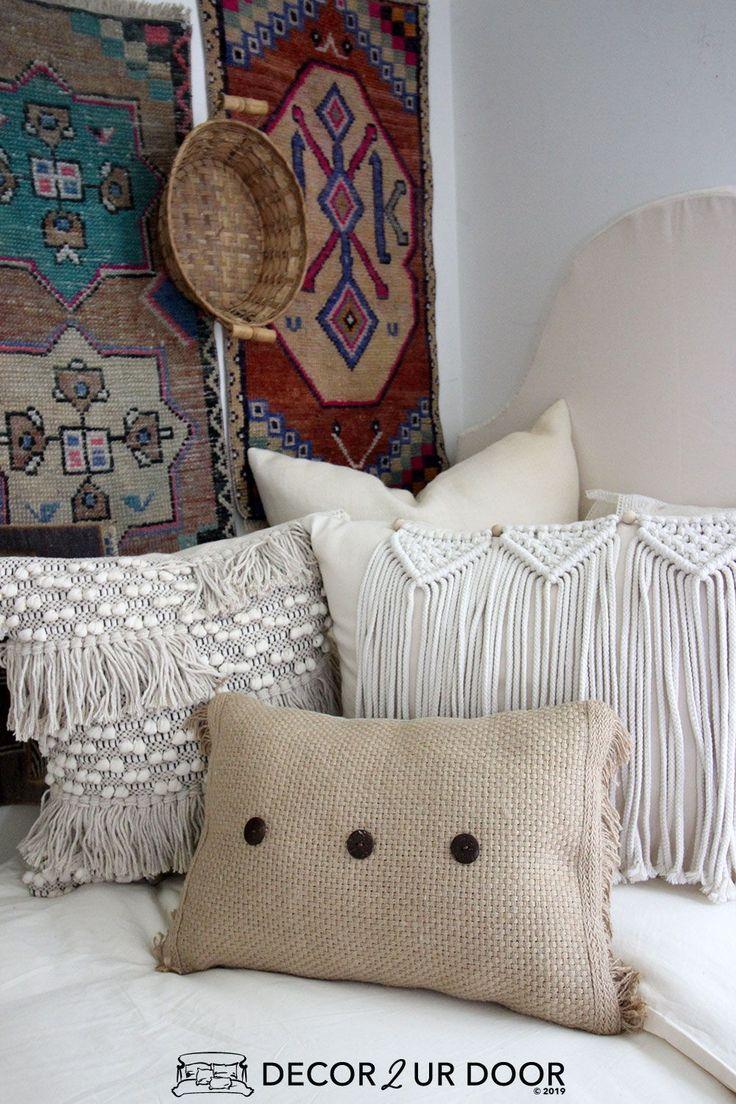 White Natural Macrame Dorm Bedding Set