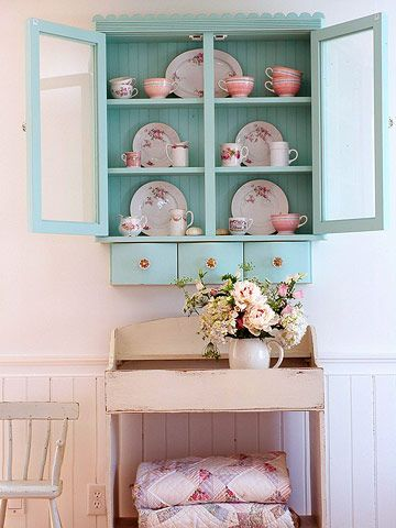 All aqua: Decor, Blue Cabinets, Cottages Style, Idea, China Cabinets, Shabby Chic, Color, Wall Cabinets, Cupboards