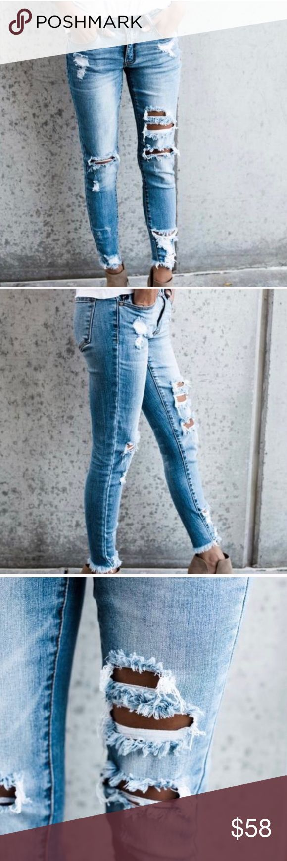 """NWT KanCan Distressed Ripped Frayed Skinny Jeans Please note: Due to high demand of this item, shipping will take slightly longer than our typical delivery time.  The frayed ankle on our Worldwide Distressed Frayed Skinny is next level. We are in love with the trendy appeal of these skinnies in a medium wash and distressed wear. They are made from our best selling denim brand and are super soft with stretch!   Frayed Ankle Classic 5 Pocket Fit Inseam to hem length on a size 1 measures 26""""…"""