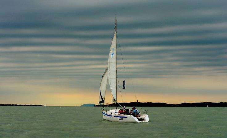Sunset sailing at lake Balaton