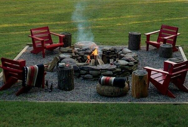 Firepit with seating area, only maybe not square since that wouldn't fit in our yard so well!