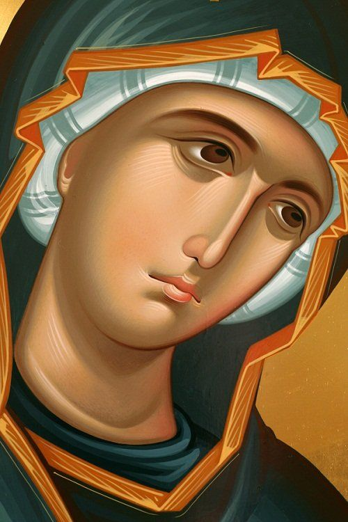 Generally, icons of the Theotokos show her holding her Son.  In this rare icon, Theotokos is shown without Christ.