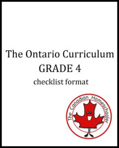 The Ontario Curriculum - Grade 4 - Checklist Format