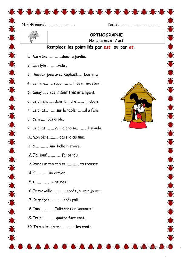 Homophone est et et | Grammaire française exercices, Exercice ce1 et Exercice francais ce2