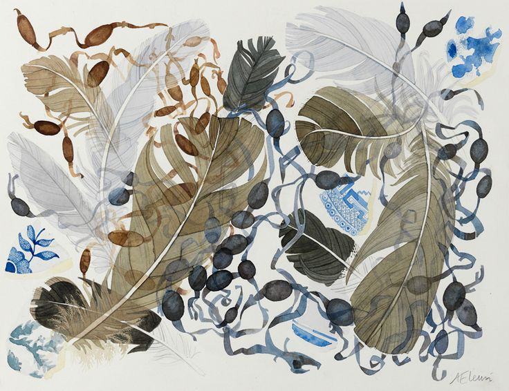 Angie Lewin 'Berneray Blue, Brown Feathers' watercolour https://www.angielewin.co.uk/collections/original-work/products/berneray-blue-brown-feathers