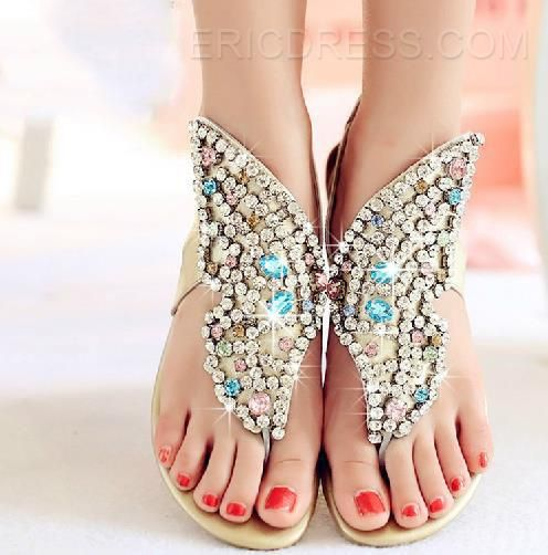 Charming Rhinestone Genuine Leather Flat Sandals Flats Sandals