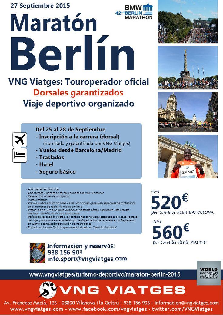 Viaje deportivo organizado a la Maratón de Berlìn 2015 - Dorsales garantizados - VNG Viatges