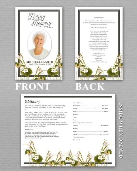 Memorial Pamphlet Template Urgup Kapook Co