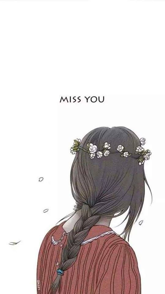 Girl illustration painting girly hair hairstyle missing miss you