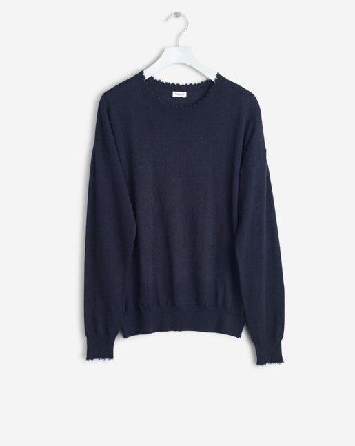 Frayed R-Neck Top Navy - Knitwear - Shop Woman - Filippa K