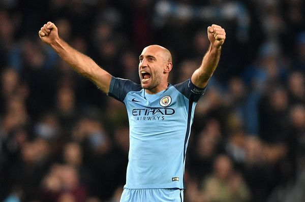 Pablo Zabaleta Photos Photos - Pablo Zabaleta of Manchester City celebrates his sides win after the final whistle during the UEFA Champions League Group C match between Manchester City FC and FC Barcelona at Etihad Stadium on November 1, 2016 in Manchester, England. - Manchester City FC v FC Barcelona - UEFA Champions League