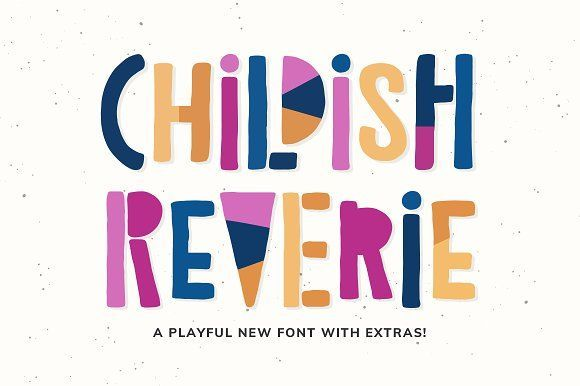 Childish Reverie Font. A great font for nursery and kids' products as well as for the young child in you! Use it for adding a fresh & unique look to company branding, logos, greetings, magazine layout, homeware, prints and invitations.