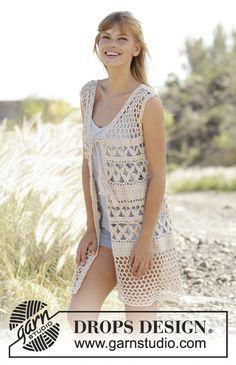 """#Crochet DROPS vest with A-shape, lace pattern and ties in """"Belle"""". Free Pattern ༺✿Teresa Restegui http://www.pinterest.com/teretegui/✿༻"""